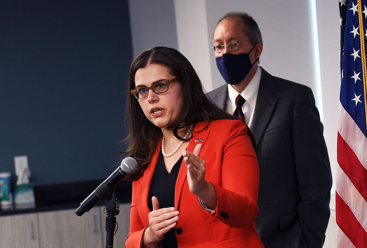 Colorado Secretary of State Jena Griswold speaks during a press conference about to the Mesa County election breach investigation on August 12, 2021 in Denver, Colorado. (RJ Sangosti/MediaNews Group/The Denver Post via Getty Images)