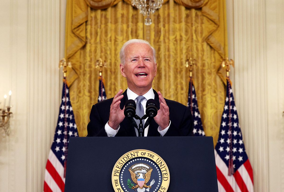 U.S. President Joe Biden gestures as he gives remarks on the worsening crisis in Afghanistan from the East Room of the White House August 16, 2021 in Washington, DC. Biden cut his vacation in Camp David short to address the nation as the Taliban have seized control in Afghanistan two weeks before the U.S. is set to complete its troop withdrawal after a costly two-decade war. (Anna Moneymaker/Getty Images)
