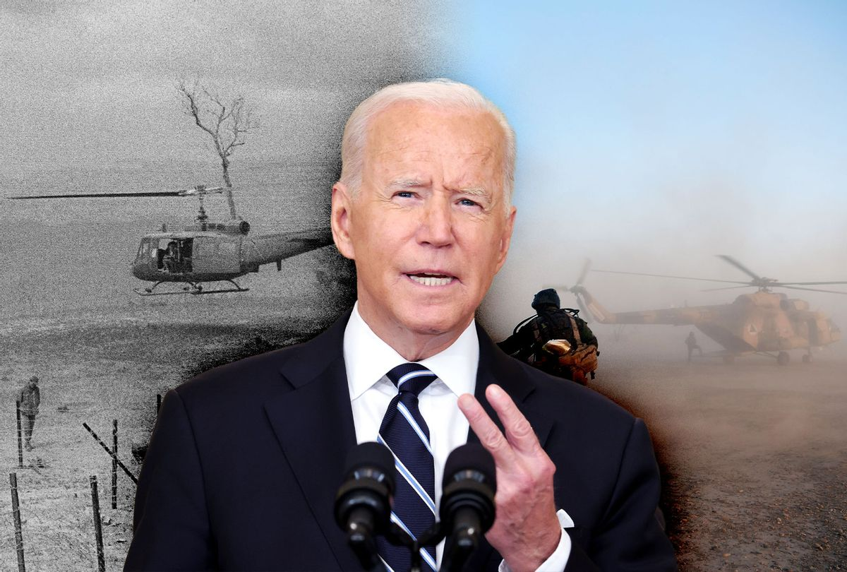 Joe Biden   Helicopter Evacuation in Saigon vs Helicopter Evacuation in Afghanistan (Photo illustration by Salon/Getty Images)