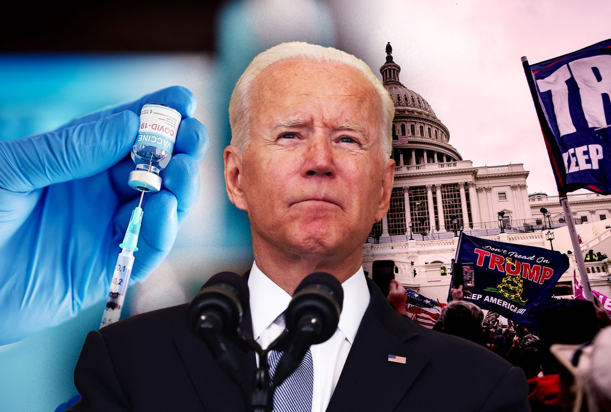Joe Biden, the COVID-19 vaccine and the January 6th Capitol Riot (Photo illustration by Salon/Getty Images)