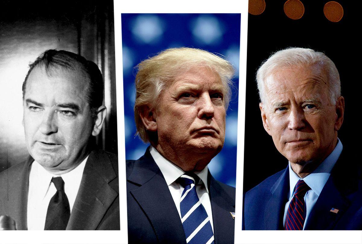 Joe McCarthy, Donald Trump and Joe Biden (Photo illustration by Salon/Getty Images/Tom Brenner/Drew Angerer/MPI)