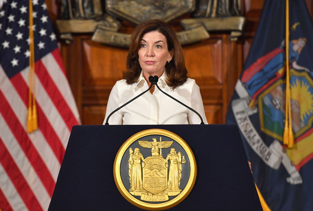New York Governor Kathy Hochul speaks to the media during her swearing in ceremony at the New York State Capitol in Albany, New York on August 24, 2021. - New York Governor Andrew Cuomo handed over the reins of the nation's fourth most populous state to Lieutenant Governor Kathy Hochul, a fellow Democrat who will become New York's first ever female governor. (ANGELA WEISS/AFP via Getty Images)