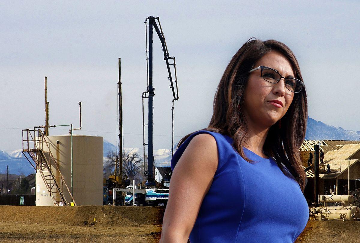 Lauren Boebert | A gas well (David Jennings/Digital First Media/Boulder Daily Camera via Getty Images)
