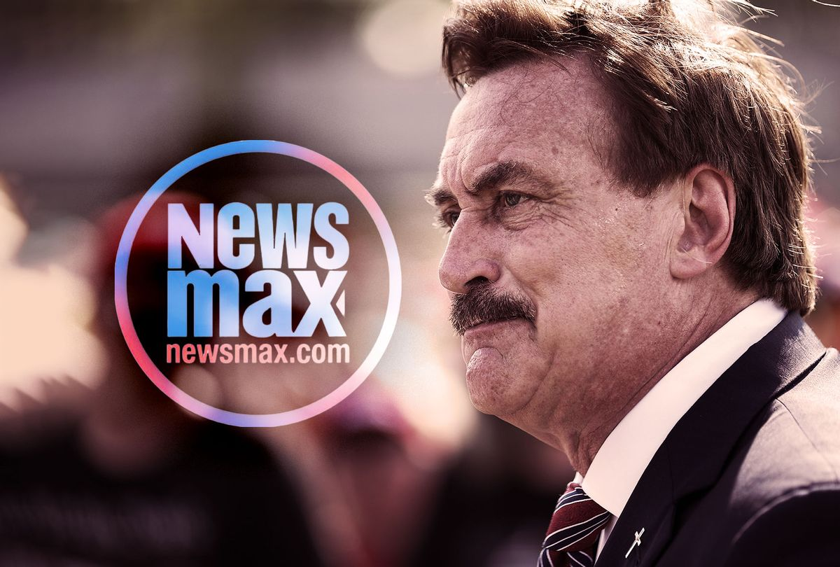 Mike Lindell | Newsmax (Photo illustration by Salon/Newsmax/Getty Images/Tayfun Coskun)