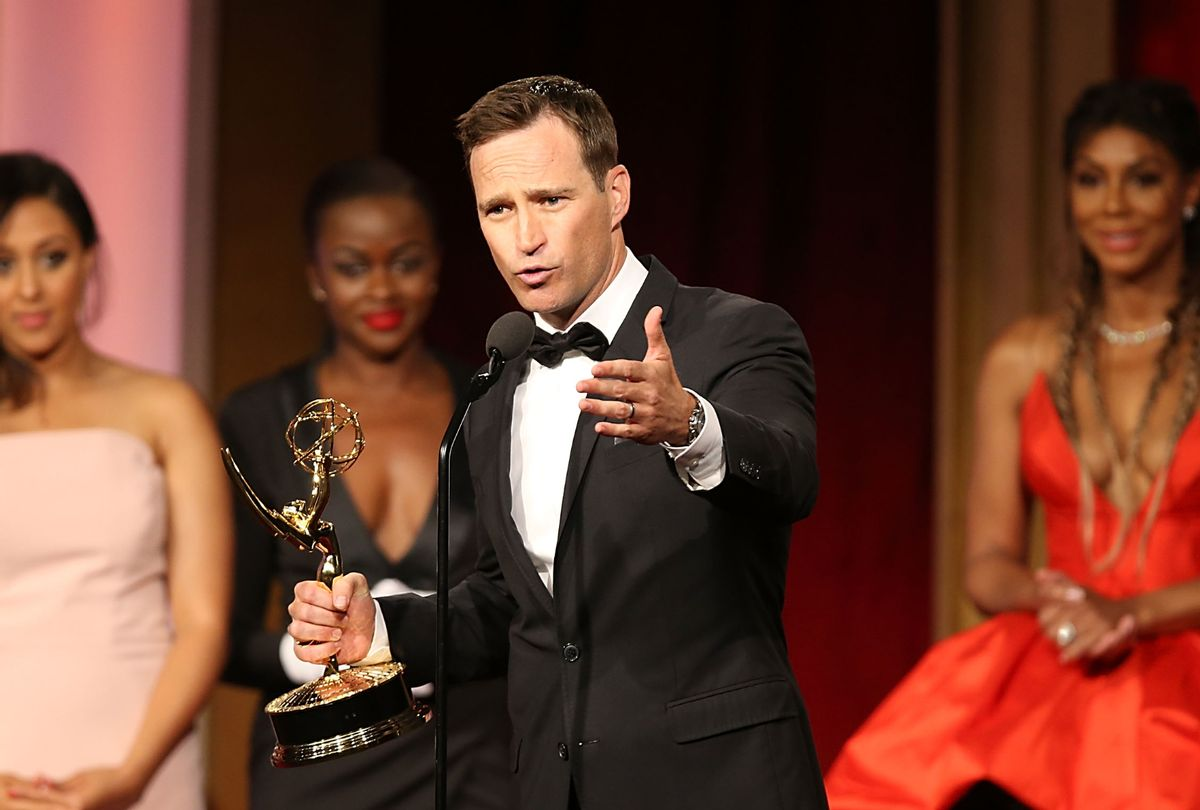 """Mike Richards accepts a Daytime Emmy for """"The Price Is Right"""" in 2016 (Joe Scarnici/WireImage)"""