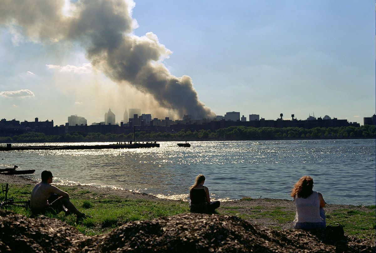View of smoke and dust rising from Ground Zero on September 11, 2001 from across the East River (Photo provided by author, Matt Valentine)
