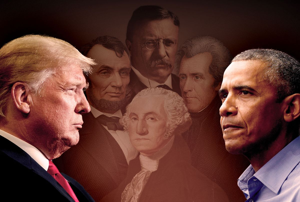 Former Presidents Donald Trump and Barack Obama, with George Washington, Andrew Jackson, Abraham Lincoln and Teddy Roosevelt haunting in the back. (Photo illustration by Salon/Getty Images)