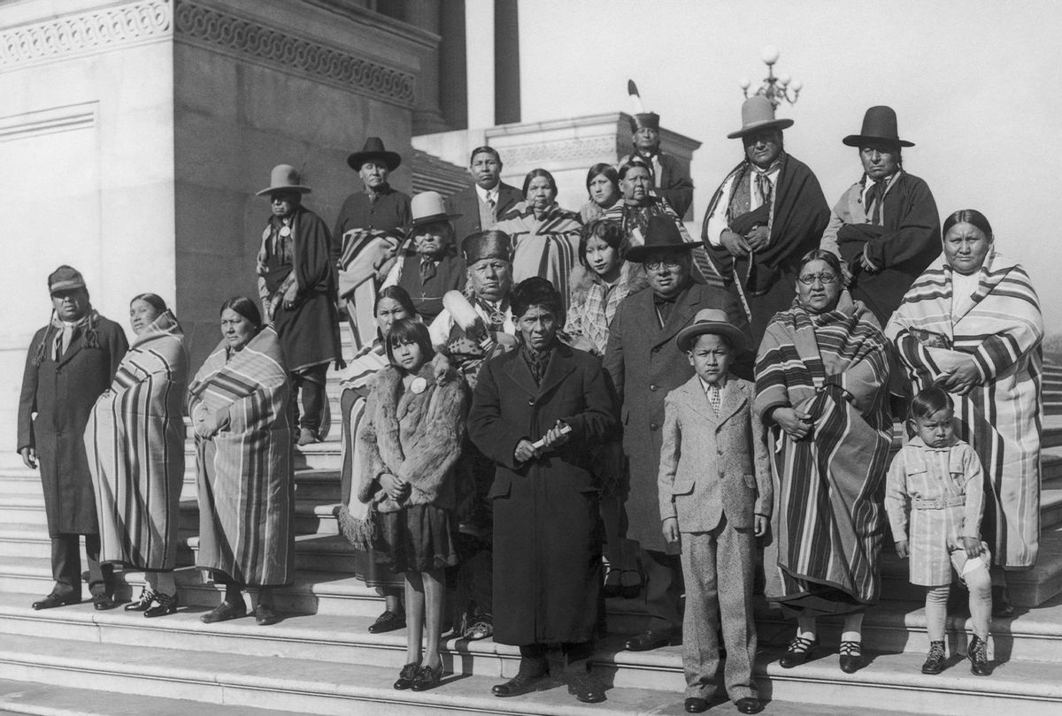 Members of the Osage Nation from Oklahoma on the steps of the Capitol in Washington D.C., circa 1925. (Photo by FPG/Hulton Archive/Getty Images)
