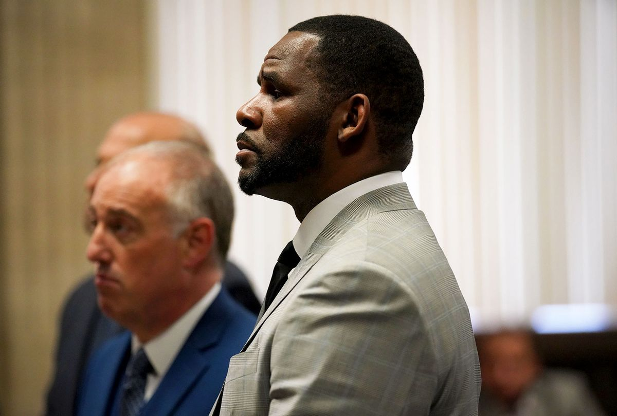 R. Kelly pleads not guilty to a new indictment before Judge Lawrence Flood at Leighton Criminal Court Building in Chicago on June 6, 2019. R&B star R. Kelly pleaded not guilty Thursday in a Chicago courtroom to 11 new felony sex crime charges. The charges were a refiling of one of the four cases of alleged abuse that prosecutors lodged against the singer earlier this year.  (JASON WAMBSGANS/AFP via Getty Images)