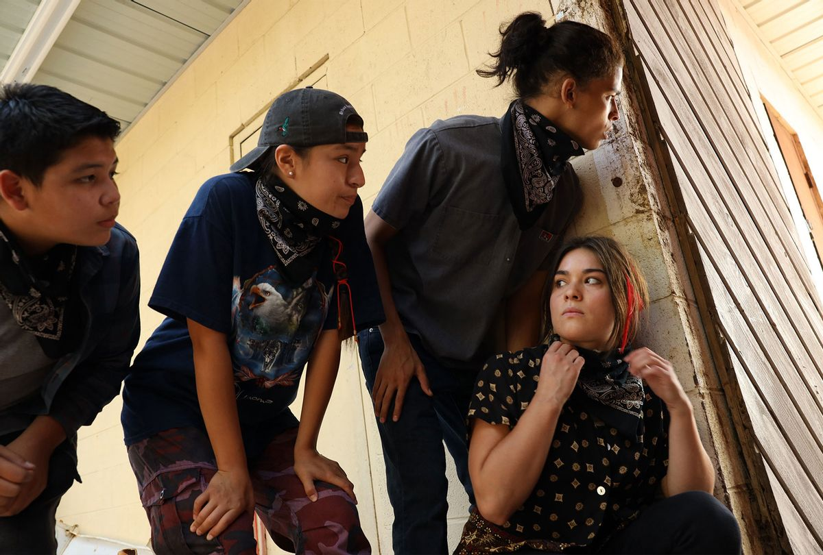 """Lane Factor, Paulina Alexis, D'Pharaoh Woon-A-Tai and Devery Jacobs in """"Reservation Dogs"""" (Shane Brown/FX)"""