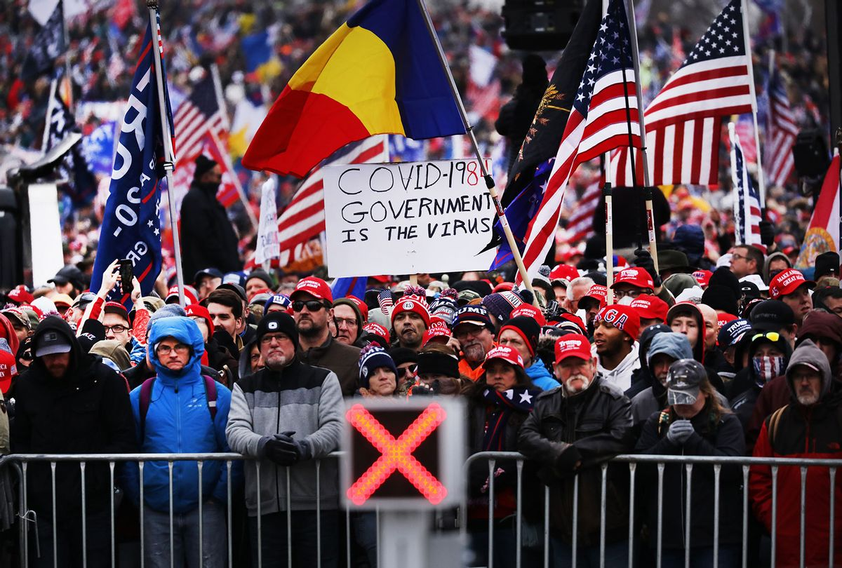 """Crowds arrive for the """"Stop the Steal"""" rally on January 06, 2021 in Washington, DC. Trump supporters gathered in the nation's capital today to protest the ratification of President-elect Joe Biden's Electoral College victory over President Trump in the 2020 election. (Spencer Platt/Getty Images)"""