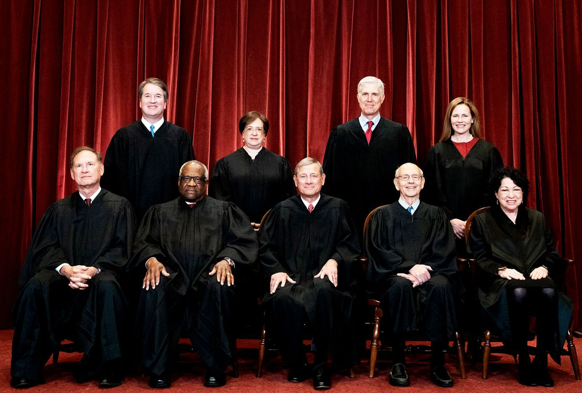 Members of the Supreme Court pose for a group photo at the Supreme Court in Washington, DC on April 23, 2021. Seated from left: Associate Justice Samuel Alito, Associate Justice Clarence Thomas, Chief Justice John Roberts, Associate Justice Stephen Breyer and Associate Justice Sonia Sotomayor, Standing from left: Associate Justice Brett Kavanaugh, Associate Justice Elena Kagan, Associate Justice Neil Gorsuch and Associate Justice Amy Coney Barrett. (Erin Schaff-Pool/Getty Images)
