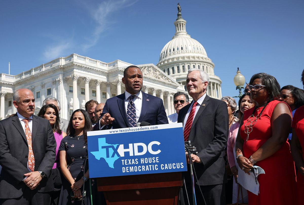 Congressmen Rep. Marc Veasey (D-TX) and Lloyd Dogget (D-TX) speak alongside Texas state House Democrats during a news conference on voting rights outside the U.S. Capitol on July 13, 2021 in Washington, DC. More than sixty Texas House Democrats left the state overnight to Washington, DC, in order to block a voting restrictions bill by denying a Republican quorum. Texas Governor Greg Abbott has threatened to arrest the legislators when they returns to the state. (Kevin Dietsch/Getty Images)