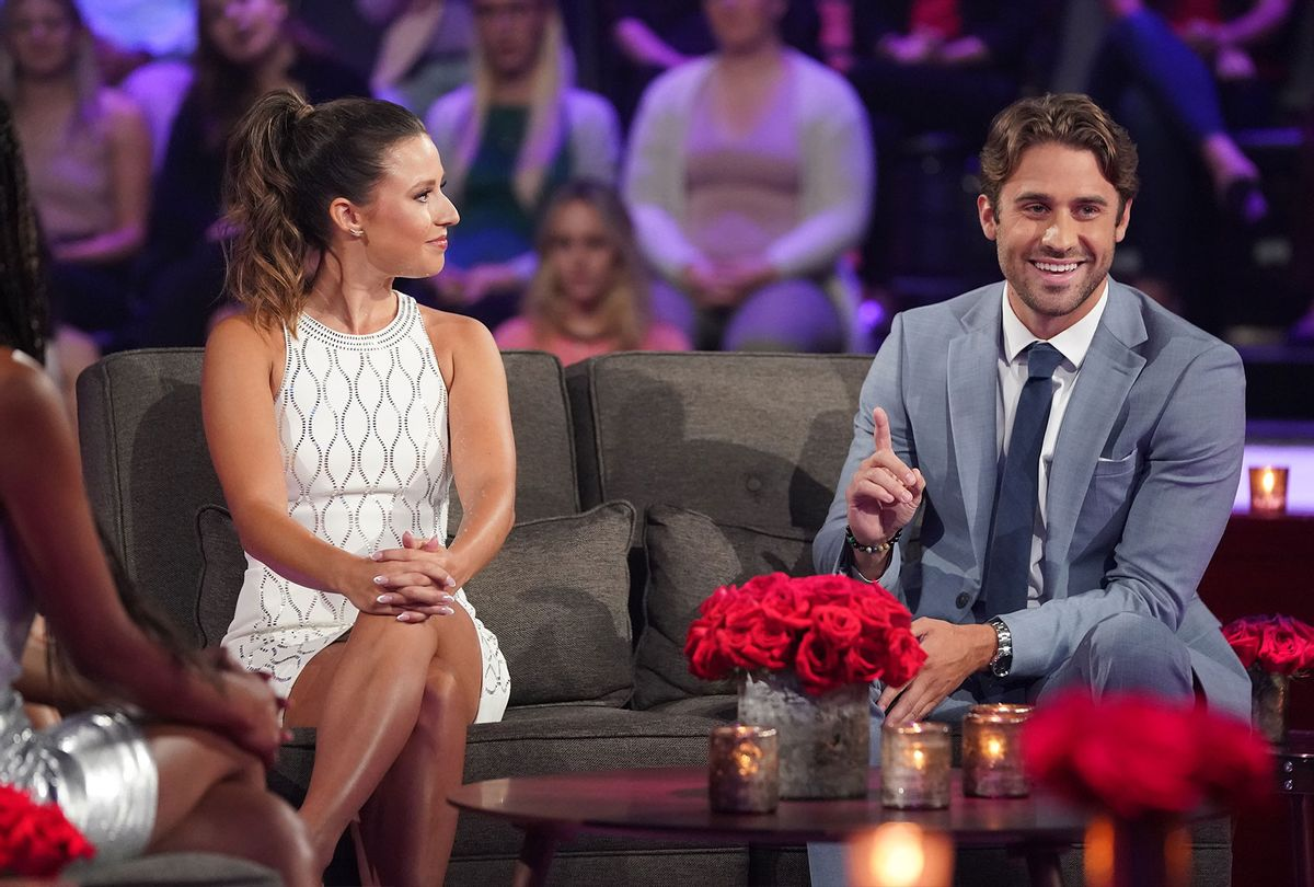 """The Bachelorette, Katie Thurston, and Greg at the """"After the Final Rose"""" segment (ABC/Eric McCandless)"""