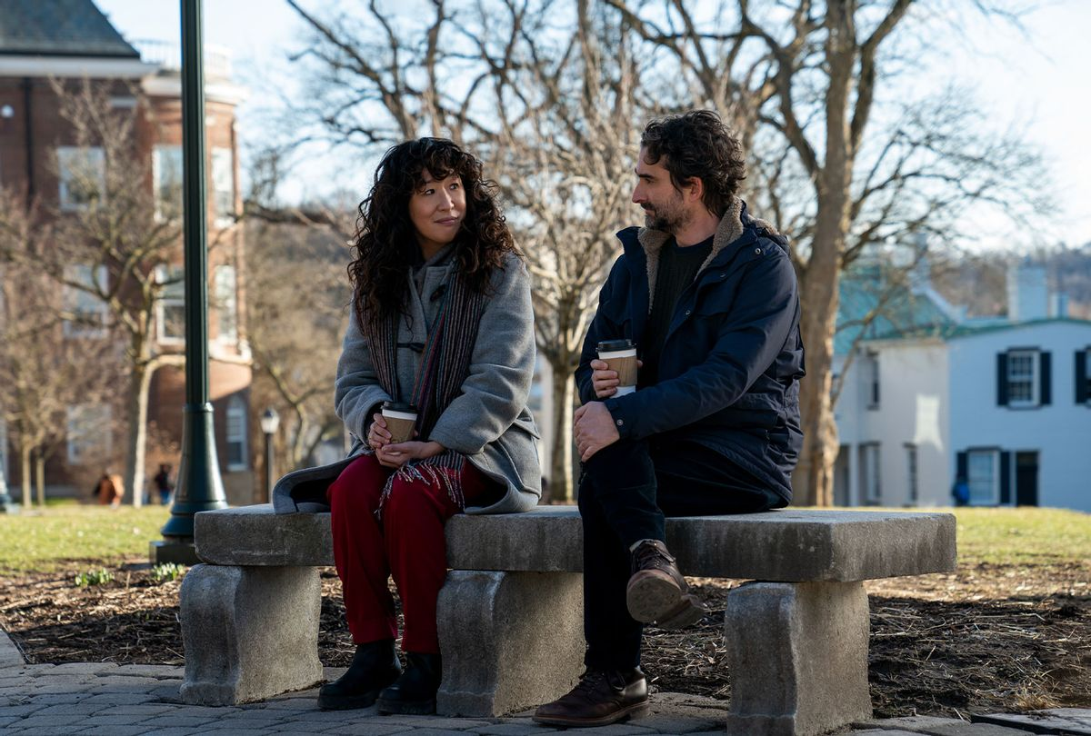 """Sandra Oh as Dr. Ji-Yoon Kim and Jay Duplass as Bill Dobson in """"The Chair"""" (Netflix)"""