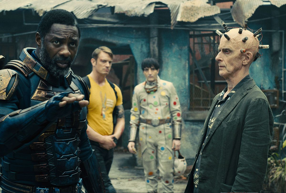 """IDRIS ELBA as Bloodsport, JOEL KINNAMAN as Colonel Rich Flag, DAVID DASTMALCHIAN as Polka-Dot Man and PETER CAPALDI as Thinker in the superhero action adventure """"THE SUICIDE SQUAD"""" (Warner Bros. Pictures)"""