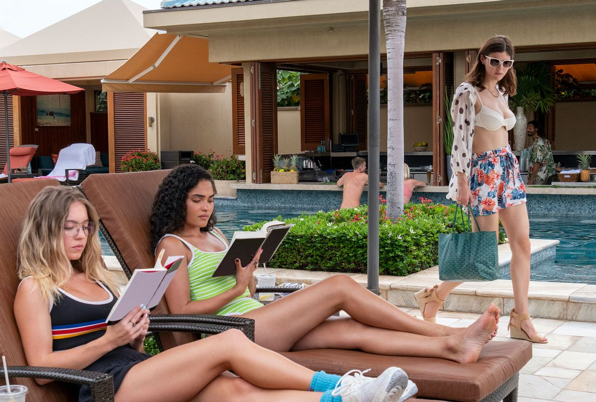 "Sydney Sweeney, Brittany O'Grady and Alexandra Daddario in ""The White Lotus"" (Mario Perez/HBO)"