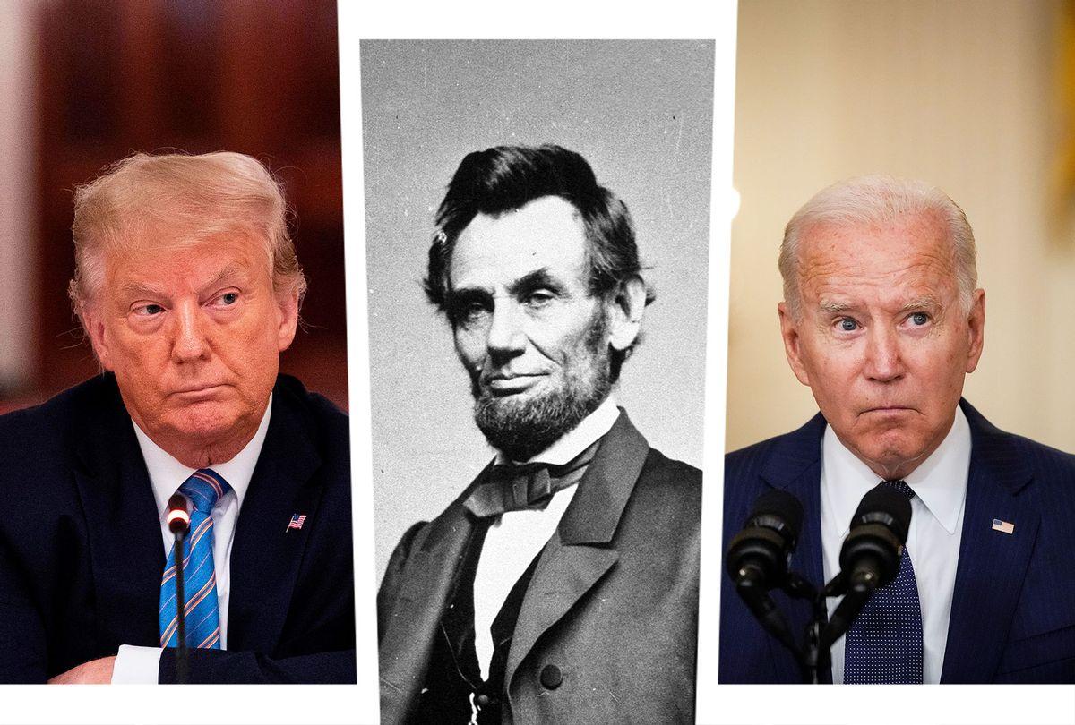 Donald Trump, Abraham Lincoln and Joe Biden (Photo illustration by Salon/Getty Images/Drew Angerer/Jim Watson/Hulton Archive)