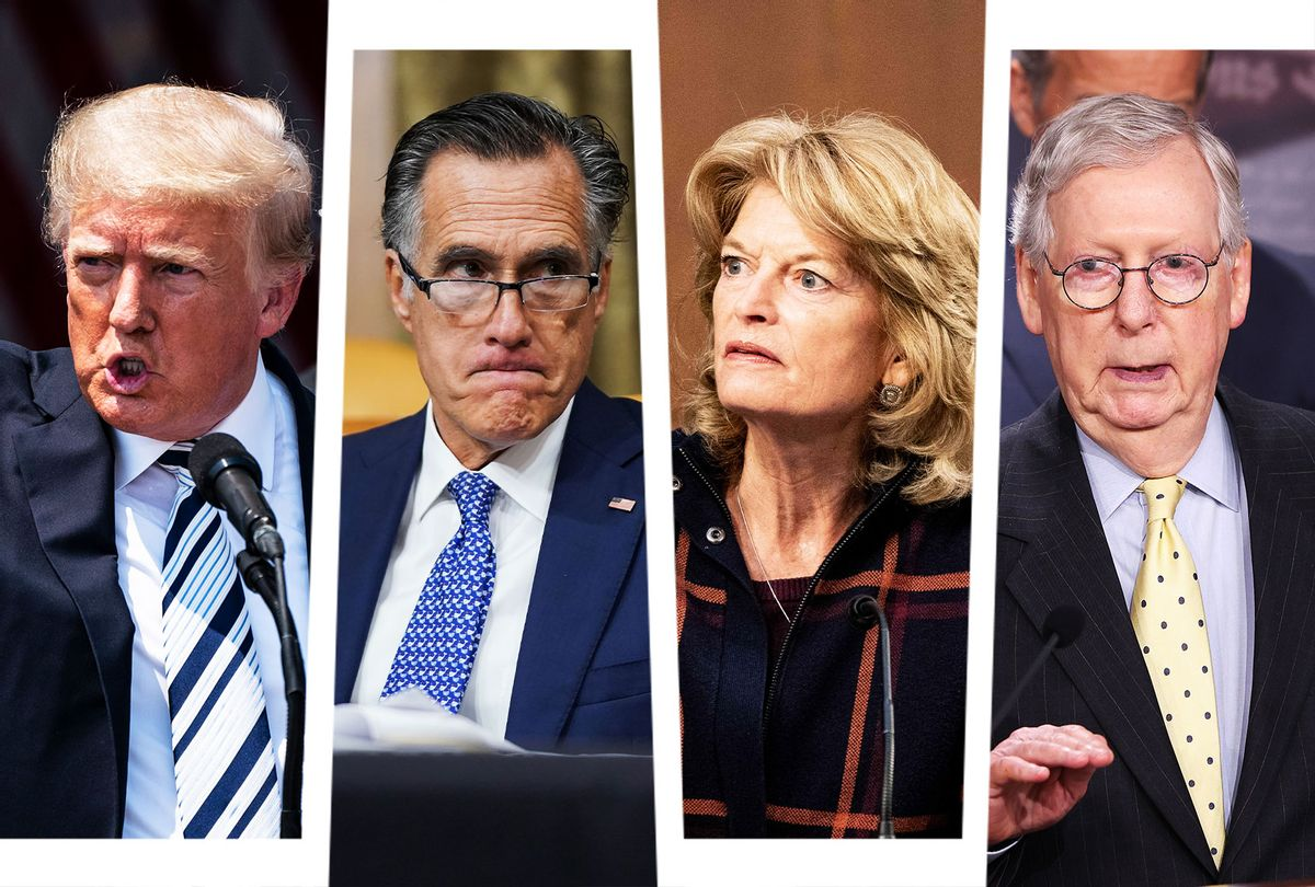 Donald Trump, Mitt Romney, Lisa Murkowski and Mitch McConnell (Photo illustration by Salon/Getty Images)