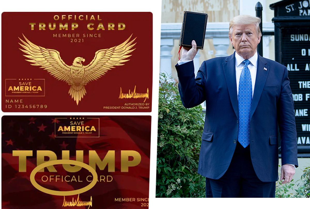 """""""Membership"""" card designs created by former President Donald Trump's Save America PAC.  (Photo illustration by Salon via Save America PAC/Getty Images)"""