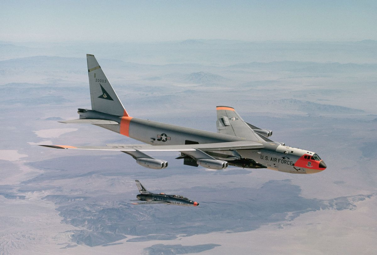 A B-52 drops an X-15 rocket plane after carrying it to launching altitude for a test flight (Dean Conger/Corbis via Getty Images)