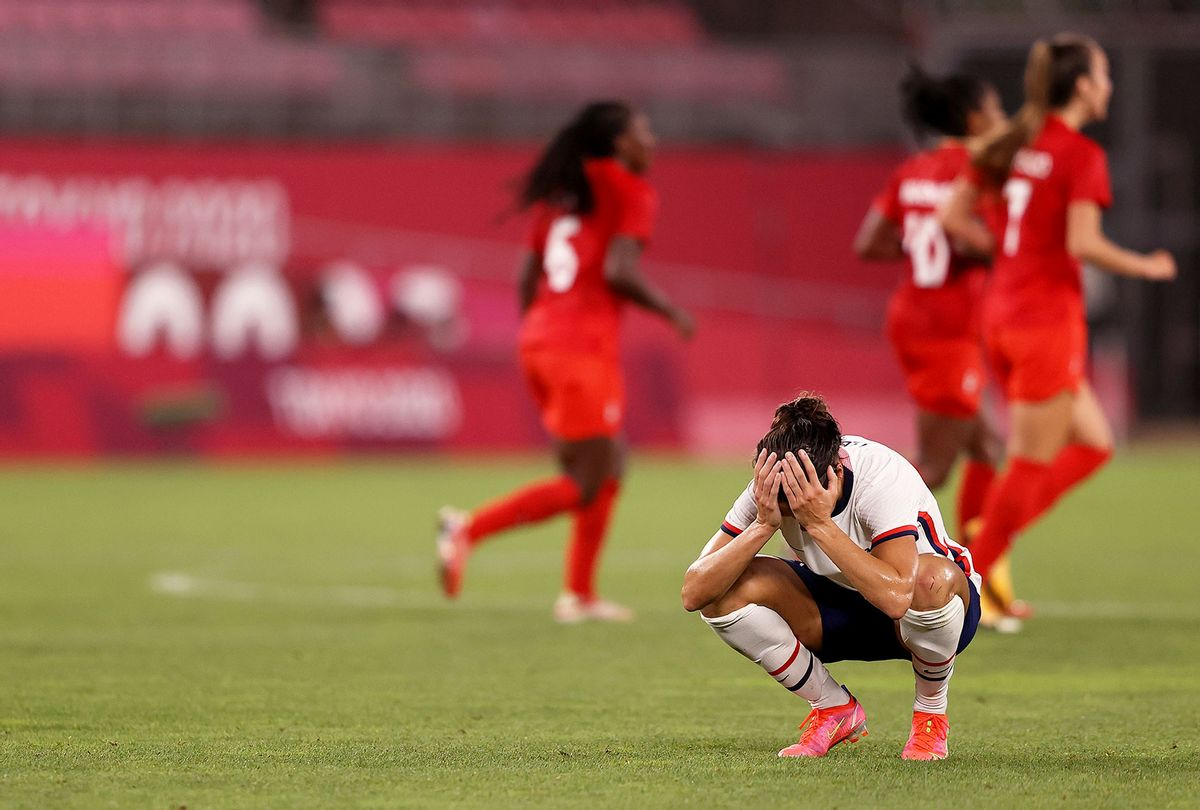 Carli Lloyd #10 of Team United States looks dejected following defeat in the Women's Semi-Final match between USA and Canada on day ten of the Tokyo Olympic Games at Kashima Stadium on August 02, 2021 in Kashima, Ibaraki, Japan. (Francois Nel/Getty Images)