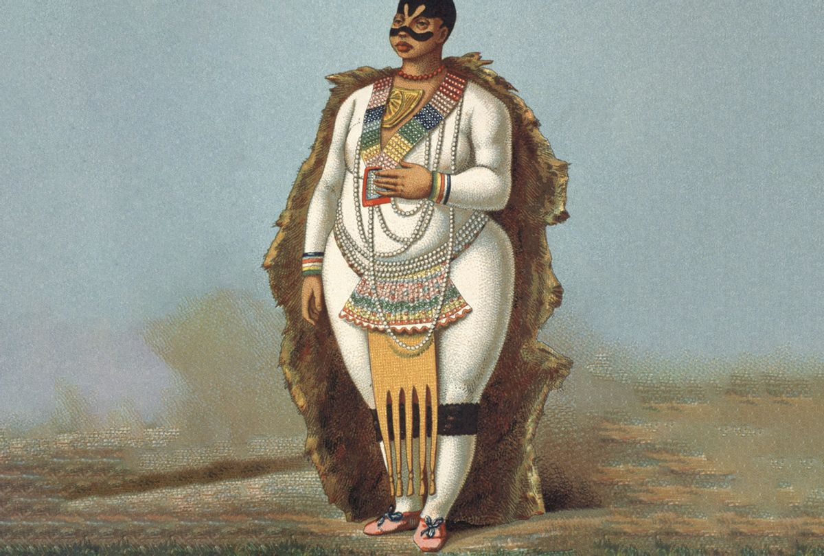"Portrait of ""Vénus hottentote"" Sarah Baartman, illustration from the 1888 ""Le costume historique' d'Albert Racinet. (API/Gamma-Rapho via Getty Images)"