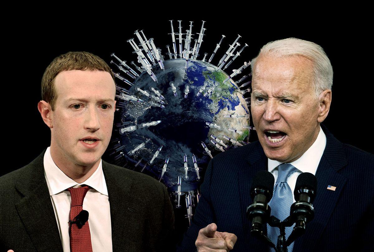 Mark Zuckerberg, Joe Biden and the COVID-19 Vaccine (Photo illustration by Salon/Getty Images)