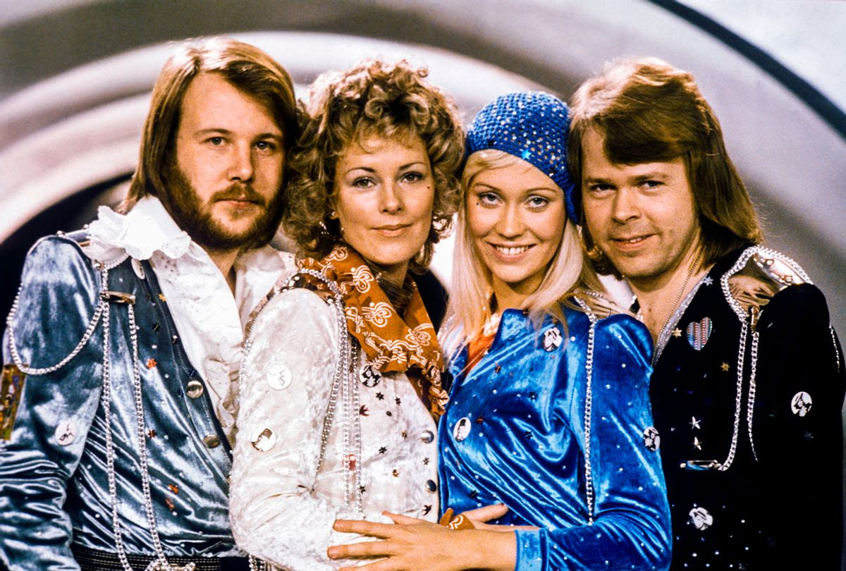 """Swedish pop group ABBA after winning the Eurovision Song Contest with """"Waterloo"""" in 1974 (OLLE LINDEBORG/AFP via Getty Images)"""