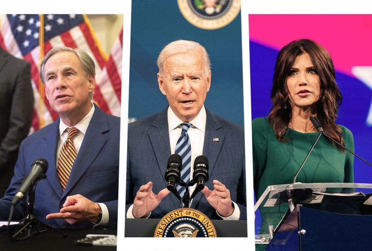 Greg Abbott, Joe Biden and Kristi Noem (Photo illustration by Salon/Getty Images)