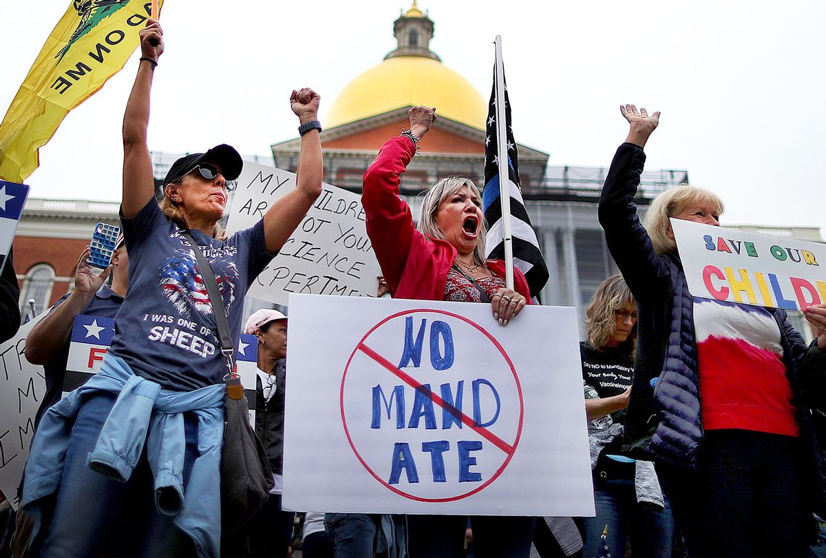 A Mass Patriots for Freedom Rally was held on Beacon Street in front of the State House in Boston, with hundreds protesting against mandatory COVID-19 vaccines on September 17, 2021. (John Tlumacki/The Boston Globe via Getty Images)