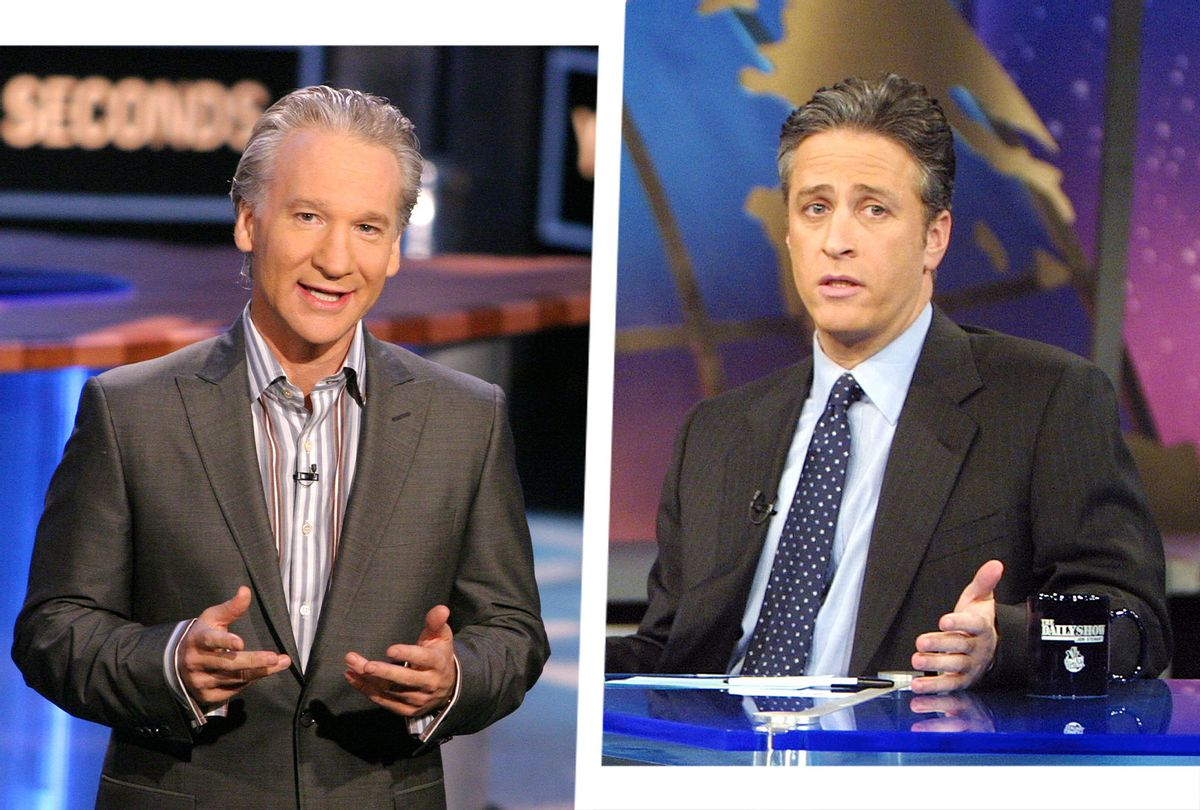 """""""Real Time With Bill Maher"""" and """"The Daily Show With Jon Stewart"""" (Photo illustration by Salon/Getty Images/Chris Polk/FilmMagic/Scott Gries)"""