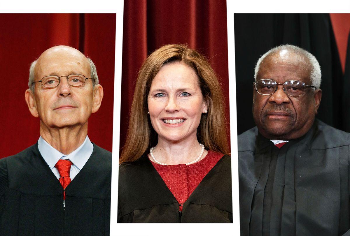U.S. Supreme Court Justices Stephen Breyer, Amy Coney-Barrett and Clarence Thomas (Photo illustration by Salon/Getty Images/Chip Somodevilla/Mark Wilson/Erin Schaff)