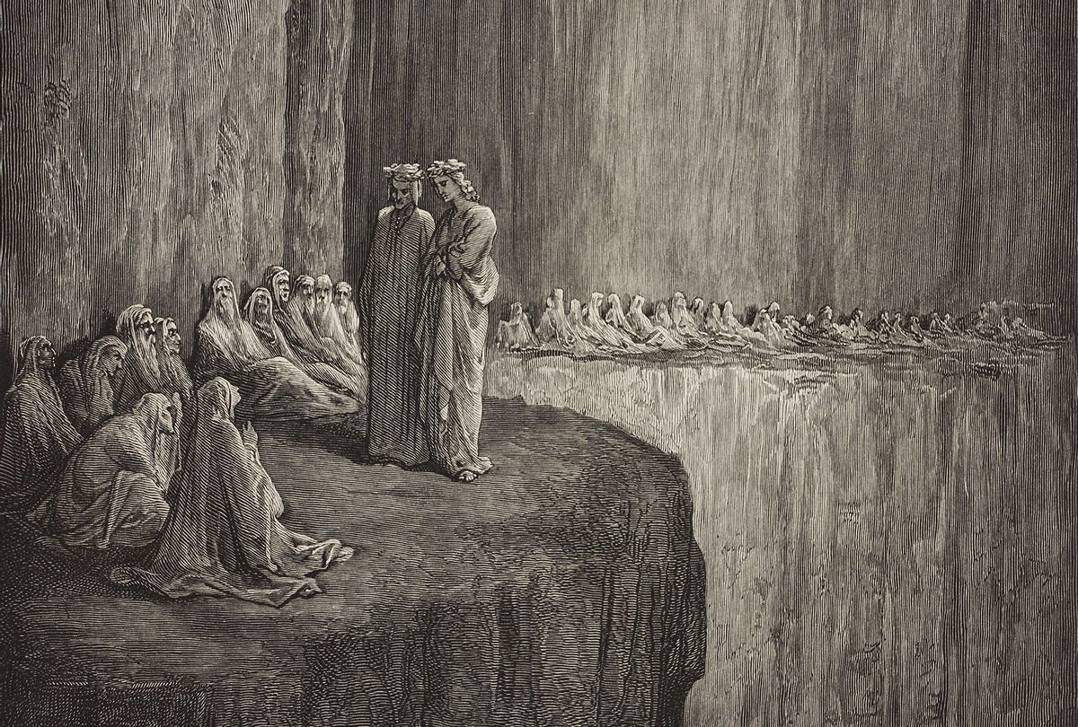 """Dante and Virgil meet Sapia amongst the envious, Second Terrace of Purgatory, engraving by Gustave Dore in the 1869 edition of Dante's """"Divine Comedy"""" (Getty Images/DEA/BIBLIOTECA AMBROSIANA)"""
