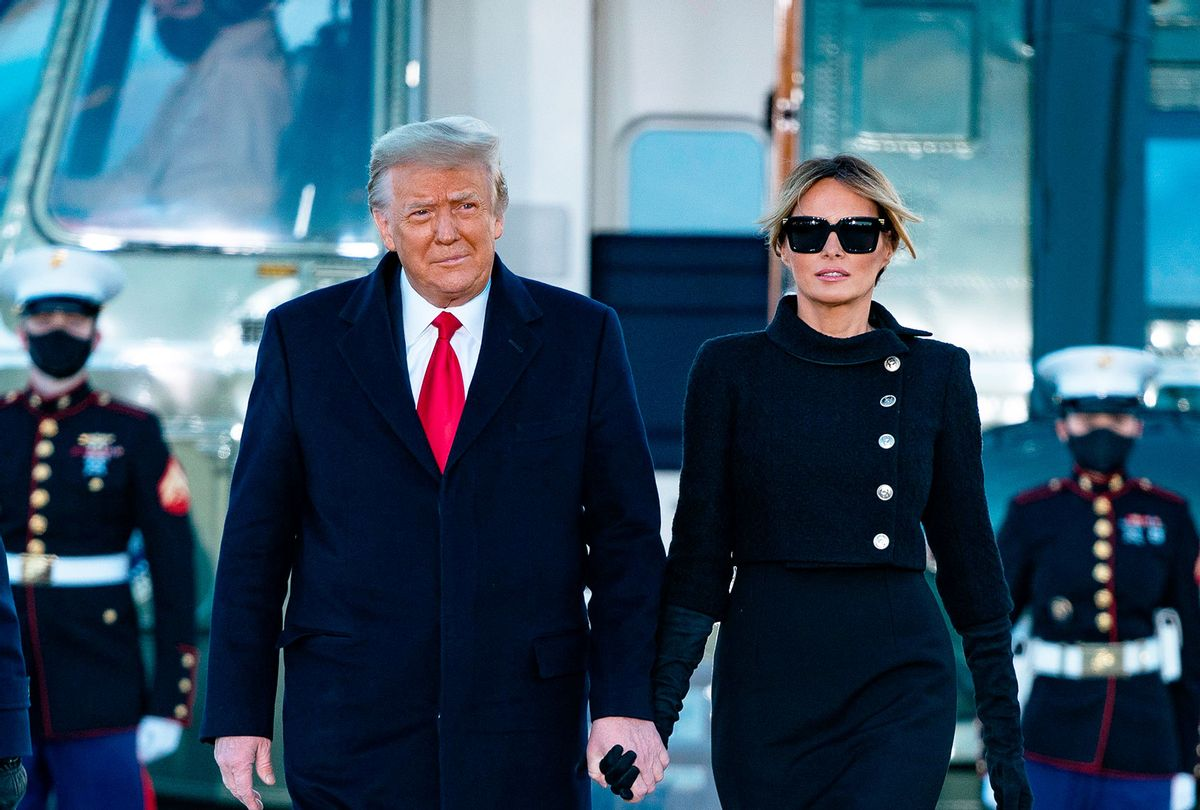 Donald Trump and Melania Trump step out of Marine One at Joint Base Andrews in Maryland on January 20, 2021.  (ALEX EDELMAN/AFP via Getty Images)