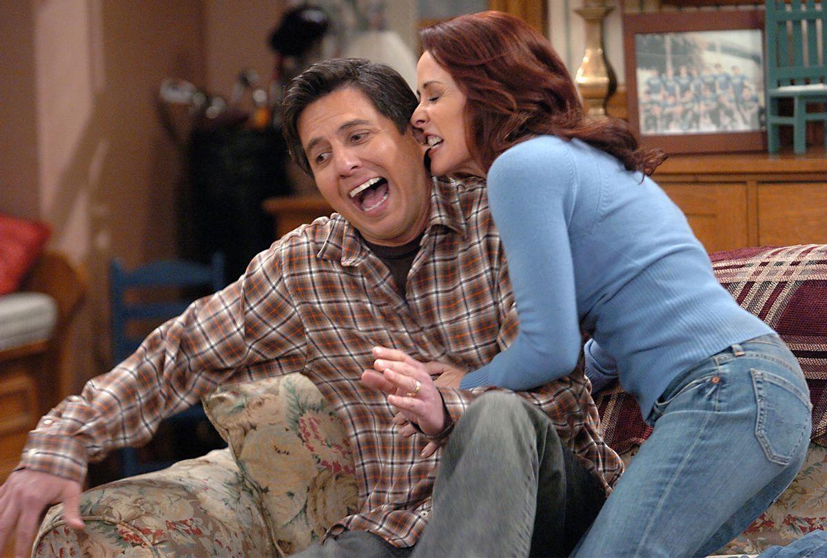 "Ray Romano and Patricia Heaton filming a scene on ""Everybody Loves Raymond"" in 2005 (Getty Images/Bob Riha, Jr.)"