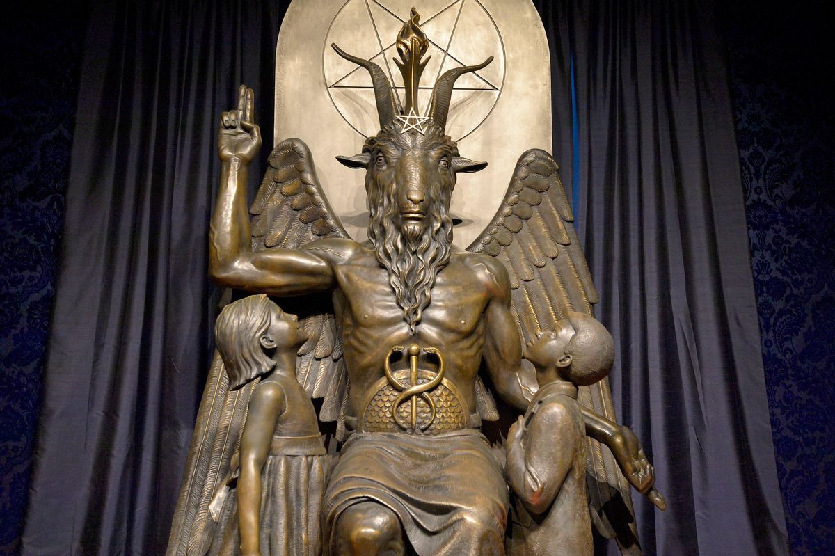 The Baphomet statue is seen in the conversion room at the Satanic Temple in Salem, Massachusetts. (JOSEPH PREZIOSO/AFP via Getty Images)