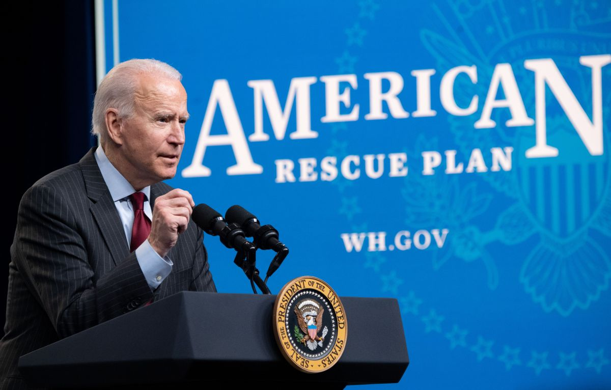 President Joe Biden speaks about the American Rescue Plan in the Eisenhower Executive Office Building in Washington, DC, on February 22, 2021. (Getty Images)