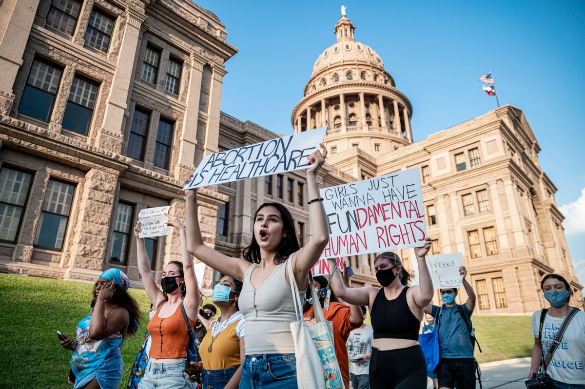 Pro-choice protesters march outside the Texas State Capitol on Wednesday, Sept. 1, 2021, in Austin. (Sergio Flores for the Washington Post via Getty Images)