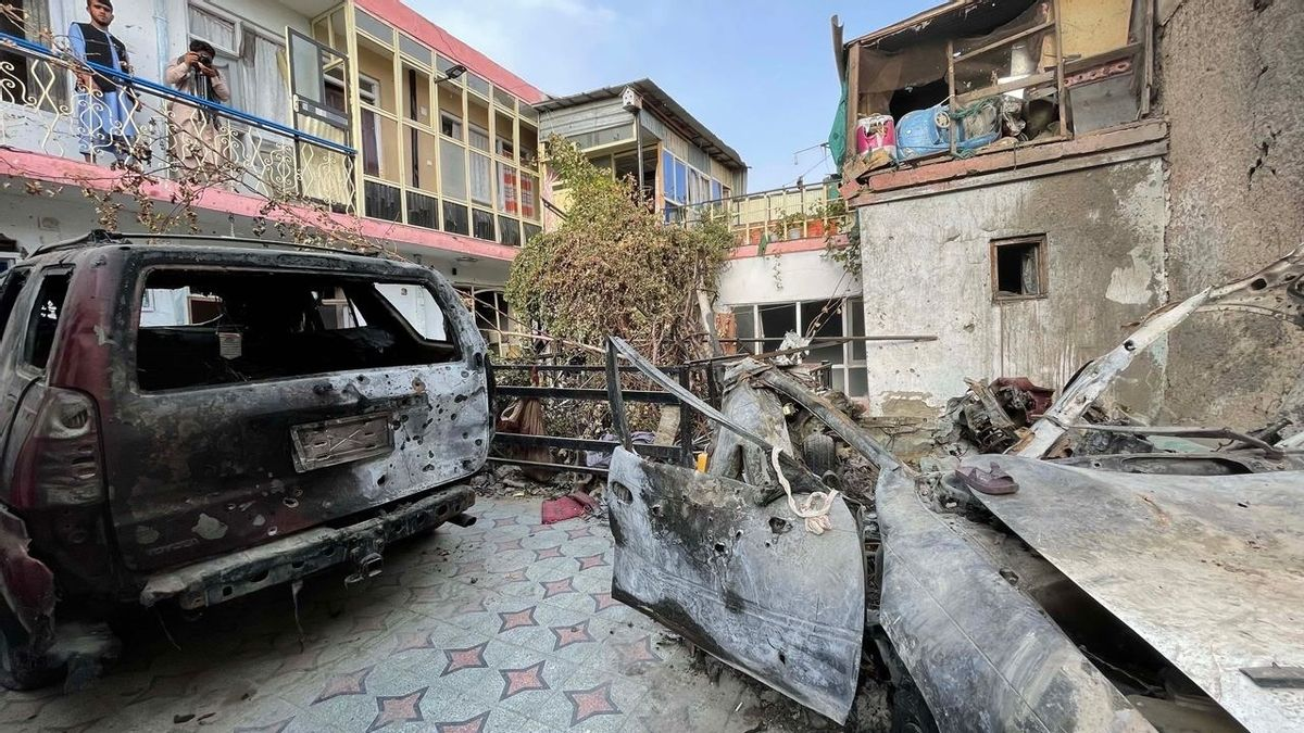 A view of the damage from a drone strike in Kabul on Sept. 11, 2021. (Haroon Sabawoon/Anadolu Agency via Getty Images)