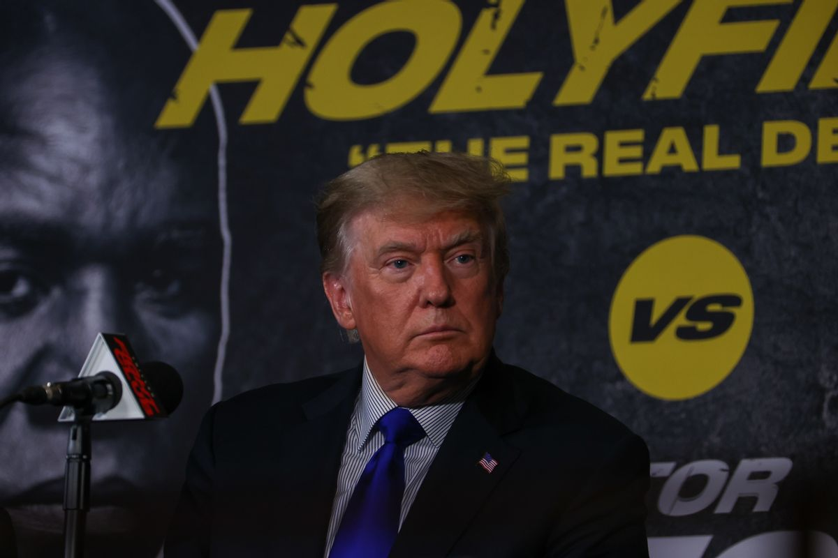 Donald Trump attends the Holyfield vs. Belfort boxing fight in Hollywood of Florida, United States on September 11, 2021. (Tayfun Coskun/Anadolu Agency via Getty Images)