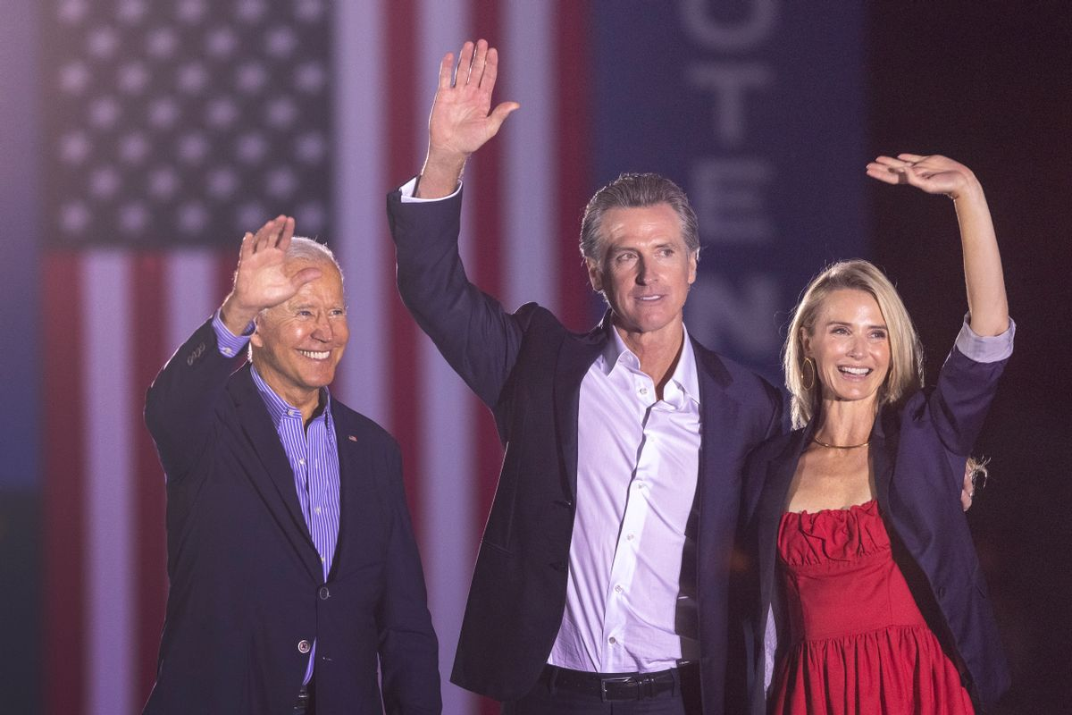 President Joe Biden, California Gov. Gavin Newsom and Jennifer Lynn Siebel Newsom wave to the crowd as they campaign to keep the governor in office at Long Beach City College on Sept. 13, 2021.  ( David McNew/Getty Images)