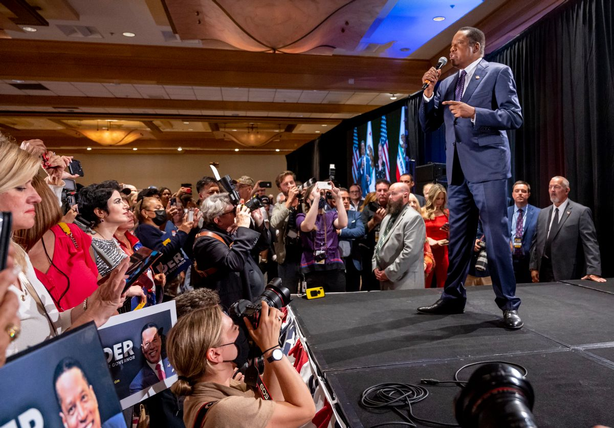 Larry Elder speaks to his supporters after conceding that the recall election was defeated during an election night event at the Hilton Orange County in Costa Mesa on Tuesday,September 14, 2021. (Leonard Ortiz/MediaNews Group/Orange County Register via Getty Images)