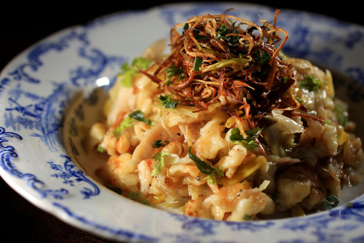 A bowl of spaetzle from the Fairsted Kitchen in Brookline, Massachusetts.  (Essdras M Suarez/The Boston Globe via Getty Images)