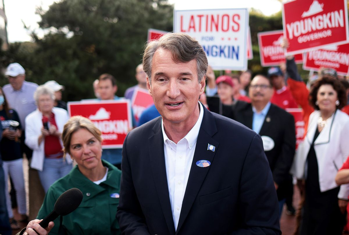 Republican gubernatorial candidate Glenn Youngkin speaks to members of the press after casting an early ballot September 23, 2021 in Fairfax, Virginia. Youngkin is running against Democrat Terry McAuliffee for governor in the Commonwealth of Virginia. (Win McNamee/Getty Images)
