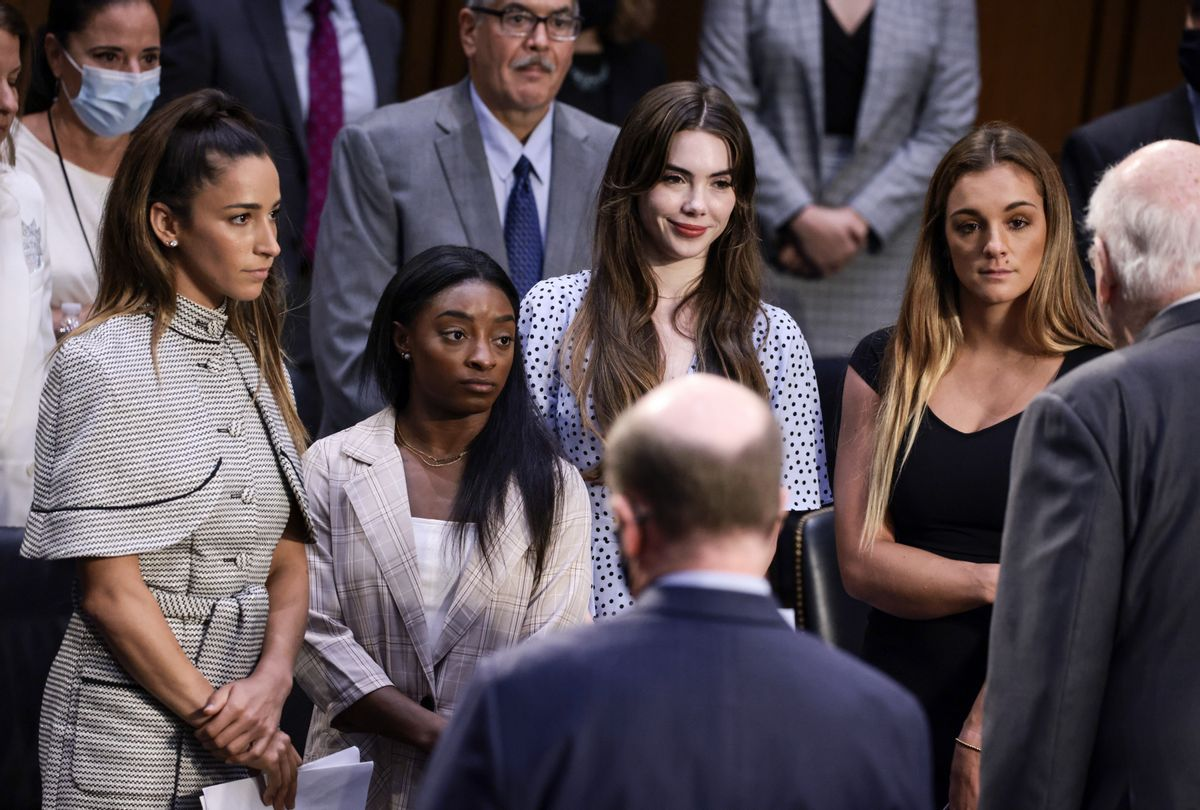 Gymnasts Aly Raisman, Simone Biles, McKayla Maroney and Maggie Nichols after their testimony during the Senate Judiciary hearing about FBI's handling of Larry Nassar sexual abuse investigation  (Anna Moneymaker/Getty Images)