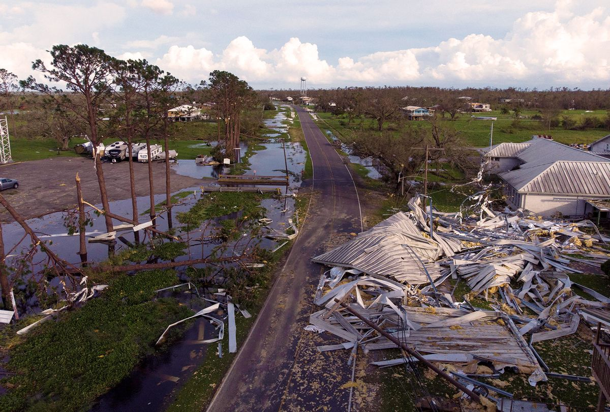 """Damage in the city of Pointe-Aux-Chenes, near montegut, Louisiana on August 30, 2021 after Hurricane Ida made landfall. - The death toll from Hurricane Ida was expected to climb """"considerably,"""" Louisiana's governor warned Monday, as rescuers combed through the """"catastrophic"""" damage wreaked as it tore through the southern United States as a Category 4 storm. (MARK FELIX/AFP via Getty Images)"""