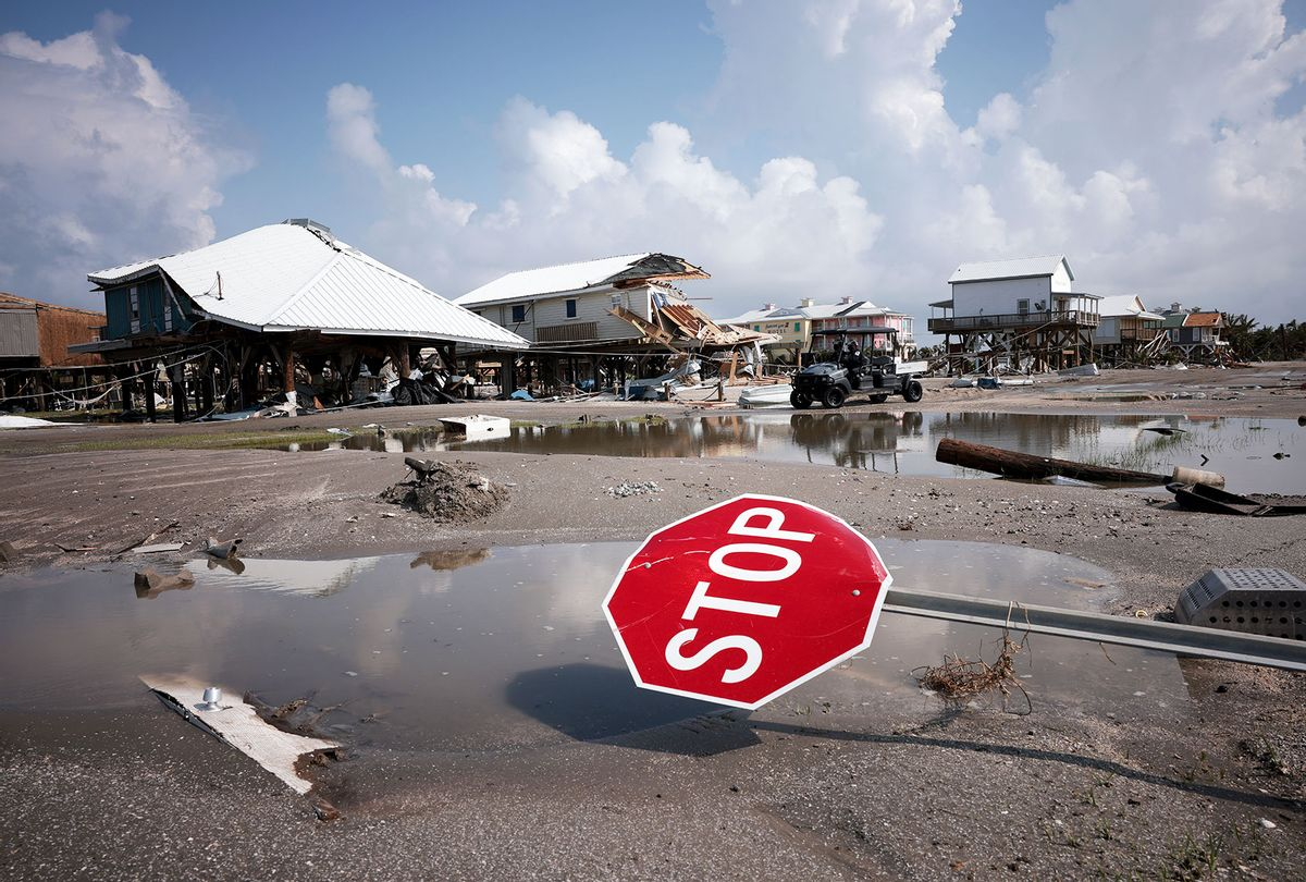 Homes destroyed in the wake of Hurricane Ida are shown September 2, 2021 in Grand Isle, Louisiana. Ida made landfall August 29 as a Category 4 storm near Grand Isle, southwest of New Orleans, causing widespread power outages, flooding and massive damage. (Win McNamee/Getty Images)