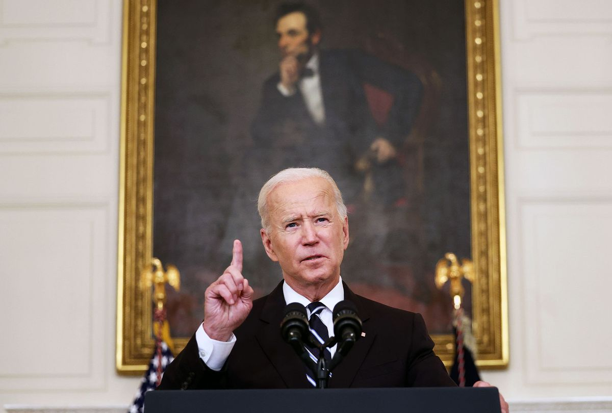U.S. President Joe Biden speaks about combatting the coronavirus pandemic in the State Dining Room of the White House on September 9, 2021 in Washington, DC. As the Delta variant continues to spread around the United States, Biden outlined his administration's six point plan, including a requirement that all federal workers be vaccinated against Covid-19. Biden is also instructing the Department of Labor to draft a rule mandating that all businesses with 100 or more employees require their workers to get vaccinated or face weekly testing. (Kevin Dietsch/Getty Images)