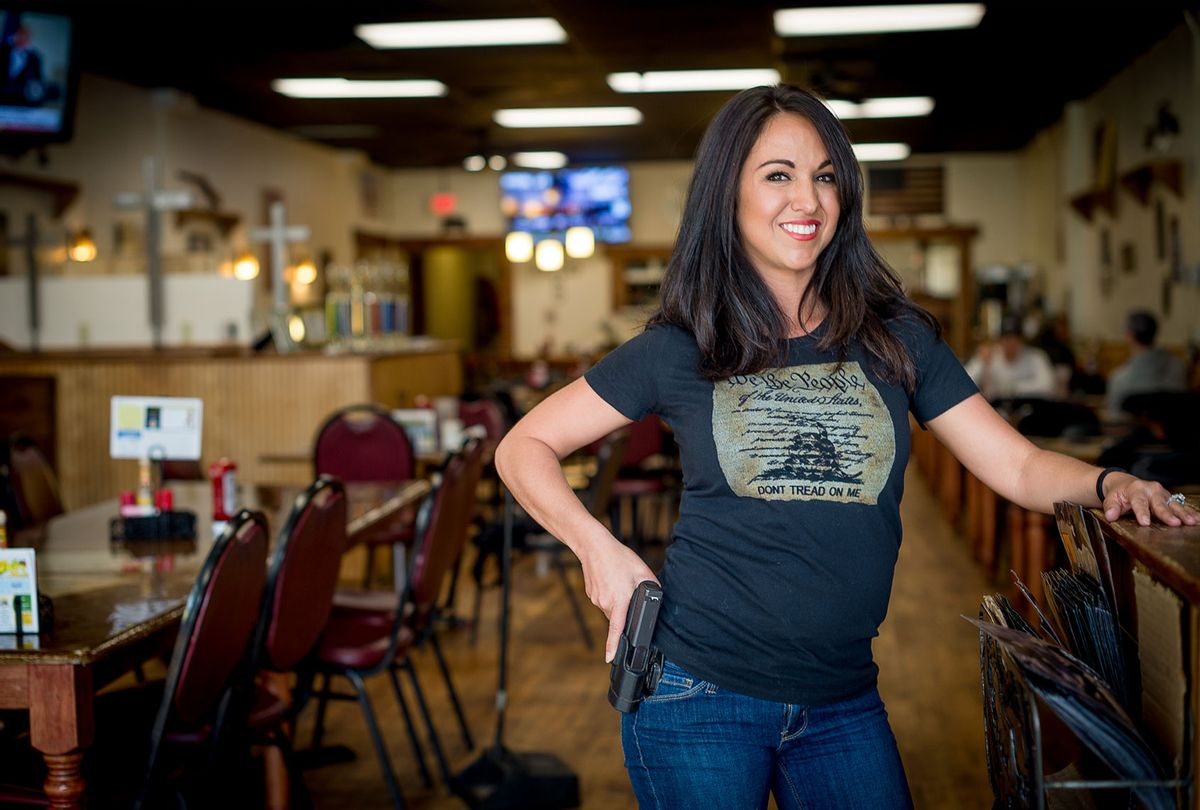 Lauren Boebert poses for a portrait at Shooters Grill in Rifle, Colorado on April 24, 2018 (EMILY KASK/AFP via Getty Images)